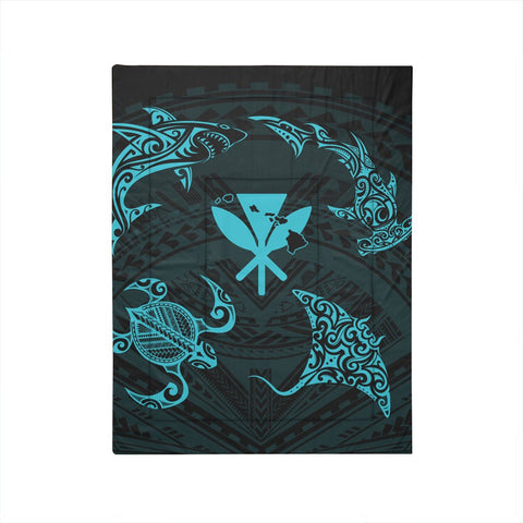 Polynesian Turtle Hammerhead Shark Ray Kanaka Hawaii Comforter Circle Blue - AH - J5C