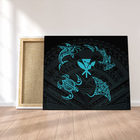 Polynesian Turtle Hammerhead Shark Ray Kanaka Hawaii Canvas Circle Blue - AH - J5C