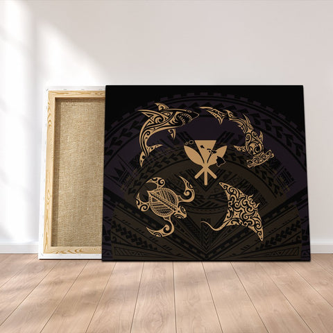 Polynesian Turtle Hammerhead Shark Ray Kanaka Hawaii Canvas Circle Gold - AH - J5C