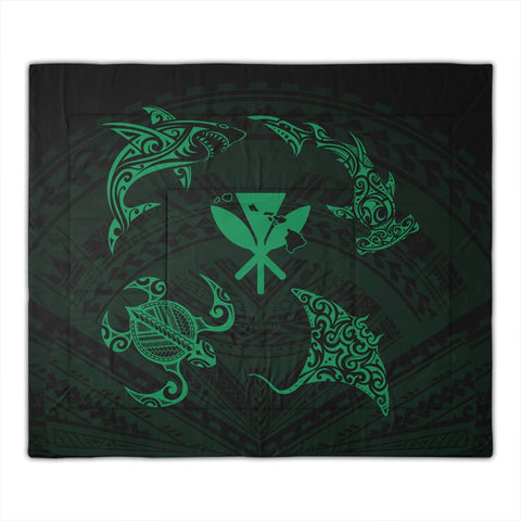 polynesian-turtle-hammerhead-shark-ray-kanaka-hawaii-comforter-circle-green