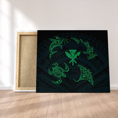 Polynesian Turtle Hammerhead Shark Ray Kanaka Hawaii Canvas Circle Green - AH - J5C