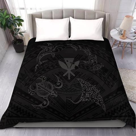 Polynesian Turtle Hammerhead Shark Ray Kanaka Hawaii Comforter Circle Grey - AH - J5C