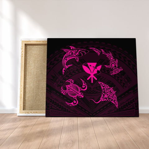 Polynesian Turtle Hammerhead Shark Ray Kanaka Hawaii Canvas Circle Pink - AH - J5C