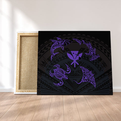 Polynesian Turtle Hammerhead Shark Ray Kanaka Hawaii Canvas Circle Purple - AH - J5C