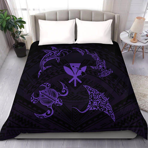 Polynesian Turtle Hammerhead Shark Ray Kanaka Hawaii Comforter Circle Purple - AH - J5C
