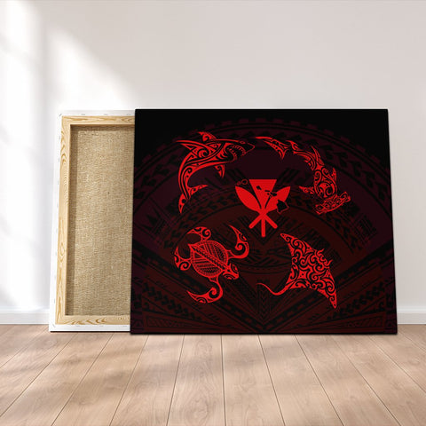 Polynesian Turtle Hammerhead Shark Ray Kanaka Hawaii Canvas Circle Red - AH - J5C