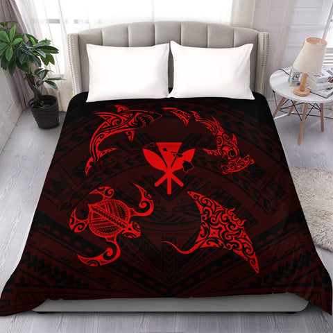 Polynesian Turtle Hammerhead Shark Ray Kanaka Hawaii Comforter Circle Red - AH - J5C