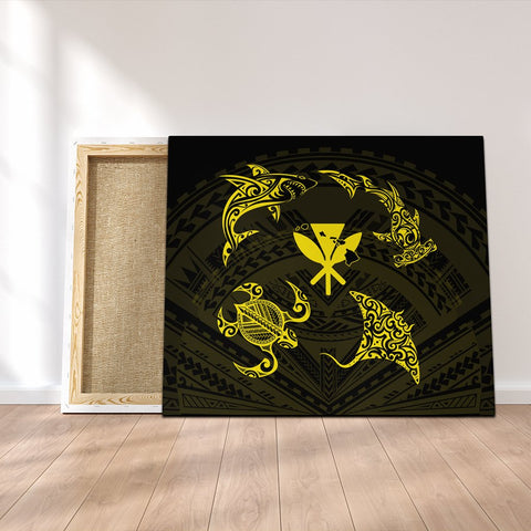 Polynesian Turtle Hammerhead Shark Ray Kanaka Hawaii Canvas Circle Yellow - AH - J5C