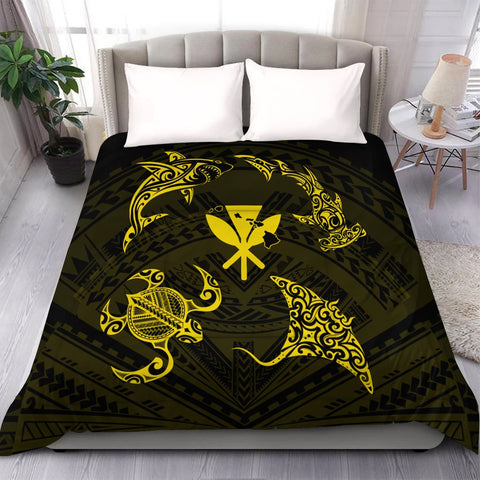 Polynesian Turtle Hammerhead Shark Ray Kanaka Hawaii Comforter Circle Yellow - AH - J5C