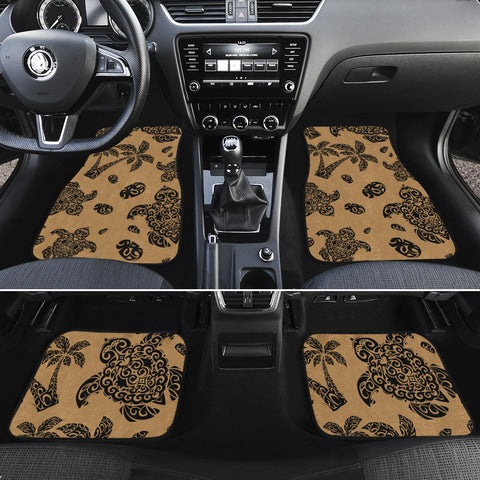 Polynesian Turtle Palm And Sea Pebbles Gold Hawaii Car Floor Mats - AH - J6 - Alohawaii