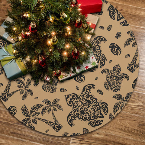 Polynesian Turtle Palm And Sea Pebbles Gold Tree Skirt