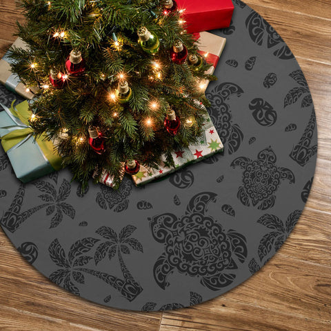 Polynesian Turtle Palm And Sea Pebbles Gray Tree Skirt