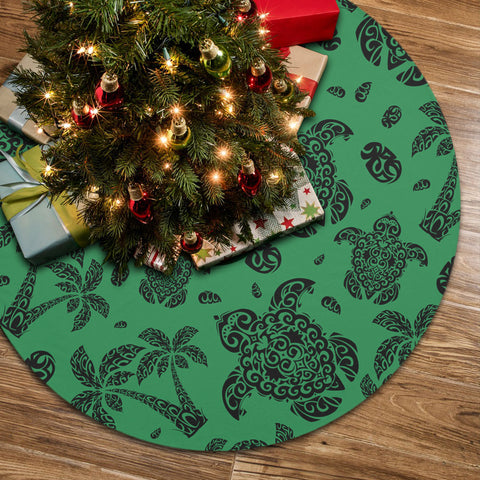 Polynesian Turtle Palm And Sea Pebbles Green Tree Skirt