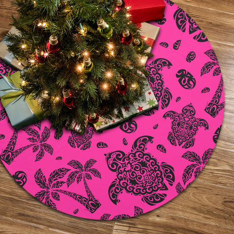Polynesian Turtle Palm And Sea Pebbles Pink Tree Skirt