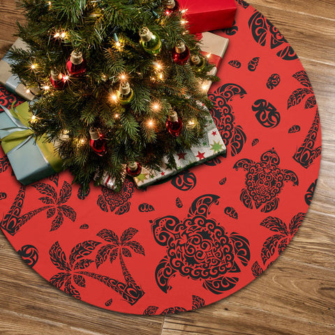 Polynesian Turtle Palm And Sea Pebbles Red Tree Skirt