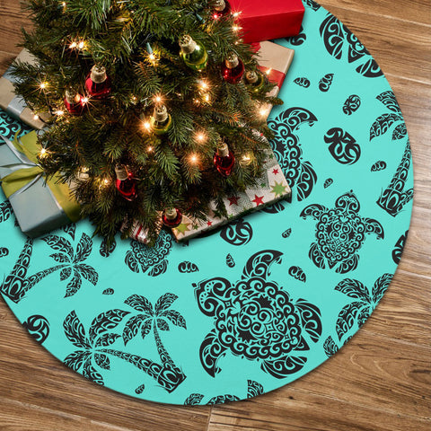Polynesian Turtle Palm And Sea Pebbles Turquoise Tree Skirt