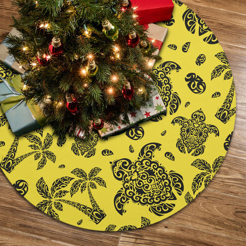 Polynesian Turtle Palm And Sea Pebbles Yellow Tree Skirt