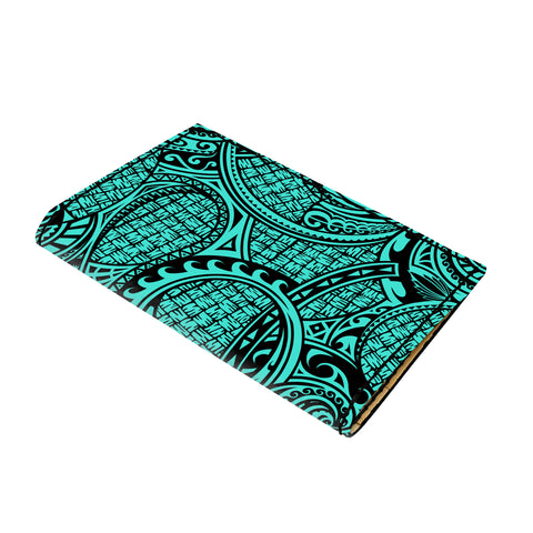 Hawaii Polynesian Maori Lauhala Turquoise Leather Passport Holder - AH - J6 - Alohawaii