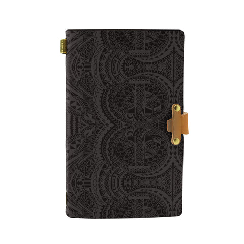 Hawaii Polynesian Symmetry Gray Leather Notebook - AH - J6 - Alohawaii