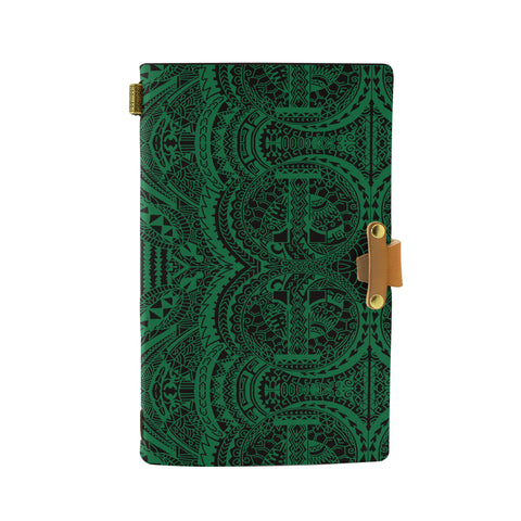 Hawaii Polynesian Symmetry Green Leather Notebook - AH - J6 - Alohawaii