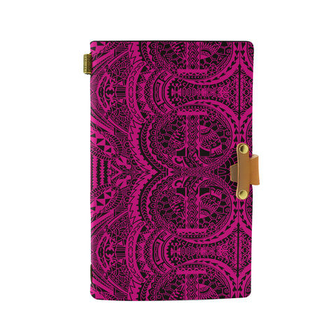 Hawaii Polynesian Symmetry Pink Leather Notebook - AH - J6 - Alohawaii