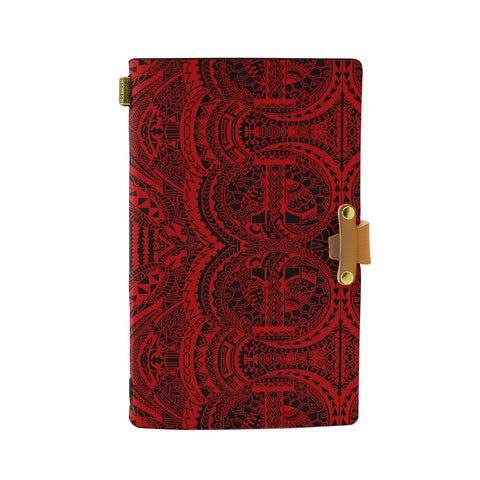 Hawaii Polynesian Symmetry Red Leather Notebook - AH - J6 - Alohawaii