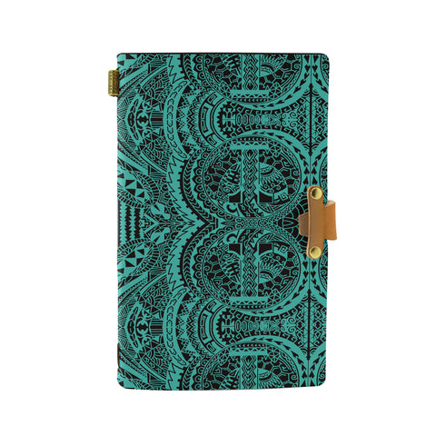 Hawaii Polynesian Symmetry Turquoise Leather Notebook - AH - J6 - Alohawaii