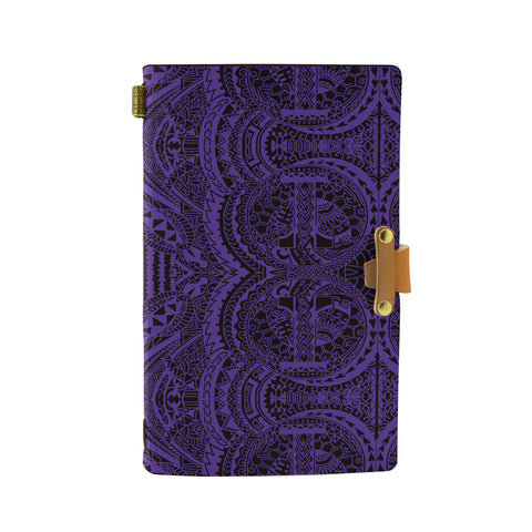 Hawaii Polynesian Symmetry Violet Leather Notebook - AH - J6 - Alohawaii