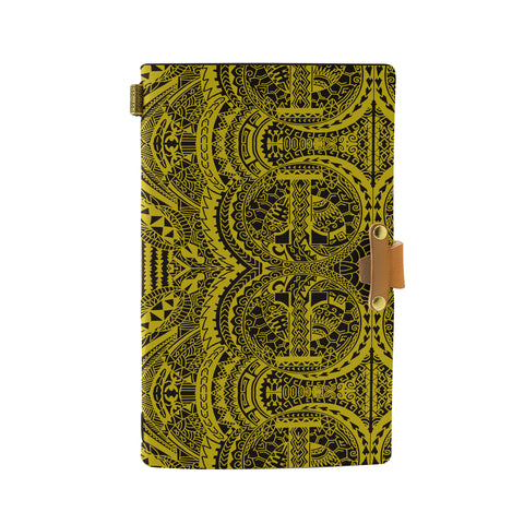 Hawaii Polynesian Symmetry Yellow Leather Notebook - AH - J6 - Alohawaii