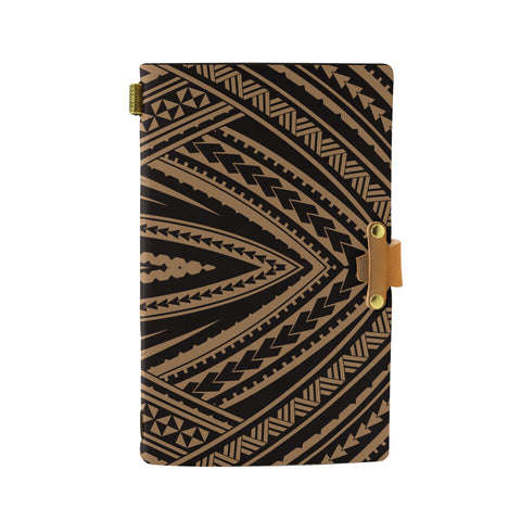 Hawaii Polynesian Tatau Gold Leather Notebook - AH - J6 - Alohawaii