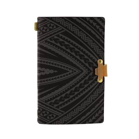 Hawaii Polynesian Tatau Gray Leather Notebook - AH - J6 - Alohawaii