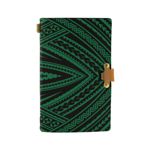 Hawaii Polynesian Tatau Green Leather Notebook - AH - J6 - Alohawaii