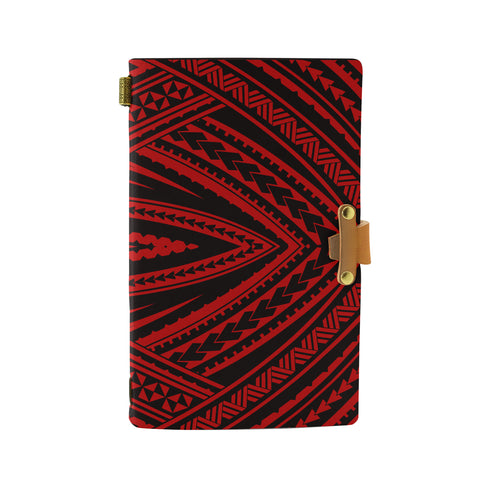 Hawaii Polynesian Tatau Red Leather Notebook - AH - J6 - Alohawaii