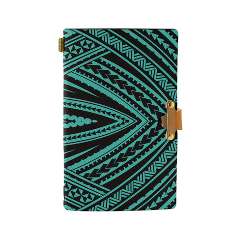 Hawaii Polynesian Tatau Turquoise Leather Notebook - AH - J6 - Alohawaii