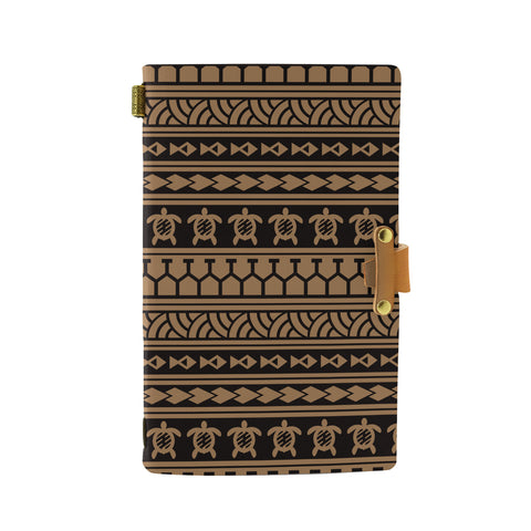 Hawaii Polynesian Tattoo Tribal Gold Leather Notebook - AH - J6 - Alohawaii