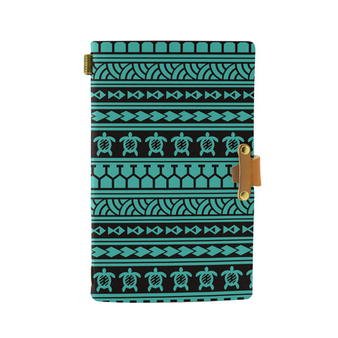 Hawaii Polynesian Tattoo Tribal Turquoise Leather Notebook - AH - J6 - Alohawaii
