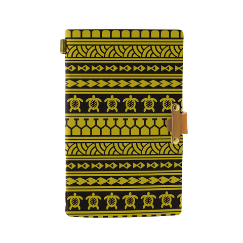 Hawaii Polynesian Tattoo Tribal Yellow Leather Notebook - AH - J6 - Alohawaii