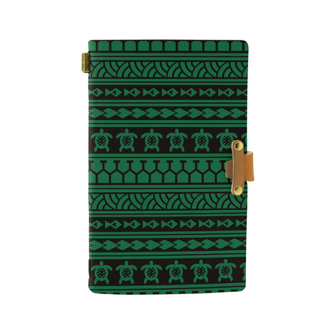 Hawaii Polynesian Tattoo tribal Green Leather Notebook - AH - J6 - Alohawaii