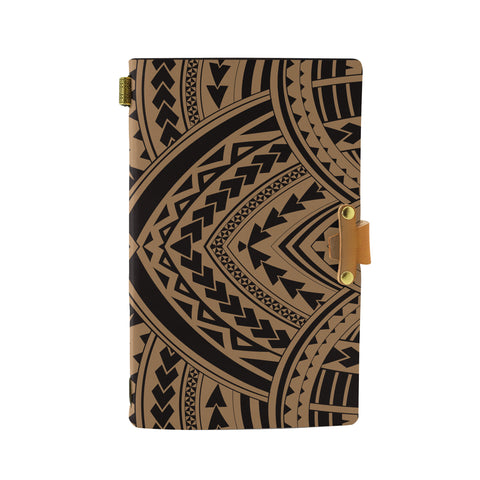 Hawaii Polynesian Tradition Gold Leather Notebook - AH - J6 - Alohawaii