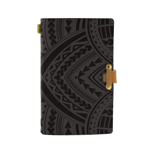 Hawaii Polynesian Tradition Gray Leather Notebook - AH - J6 - Alohawaii
