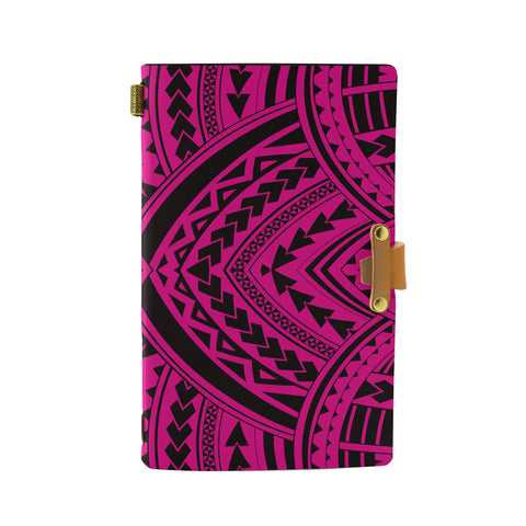 Hawaii Polynesian Tradition Pink Leather Notebook - AH - J6 - Alohawaii