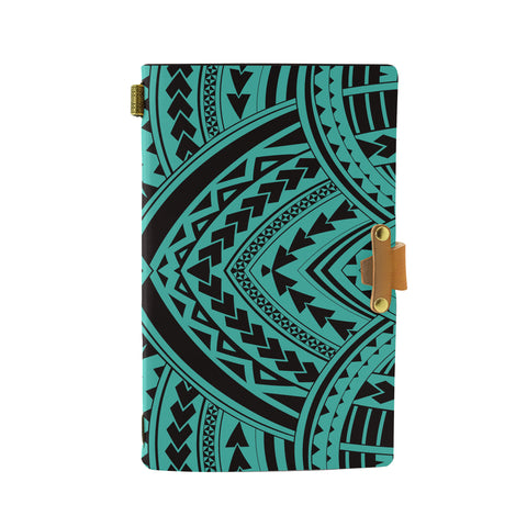 Hawaii Polynesian Tradition Turquoise Leather Notebook - AH - J6 - Alohawaii