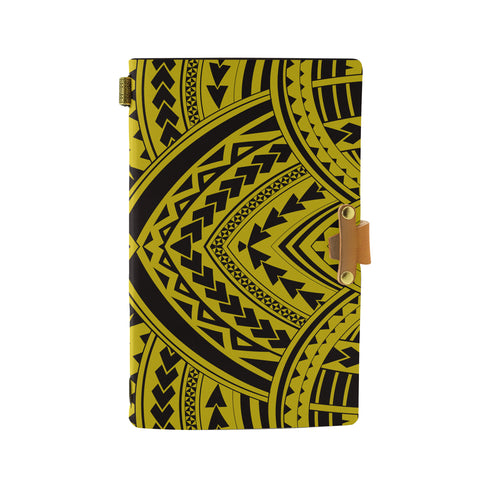 Hawaii Polynesian Tradition Yellow Leather Notebook - AH - J6 - Alohawaii