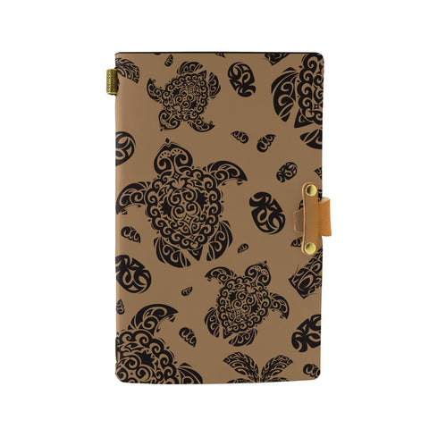Hawaii Polynesian Turtle Palm And Sea Pebbles Gold Leather Notebook - AH - J6 - Alohawaii