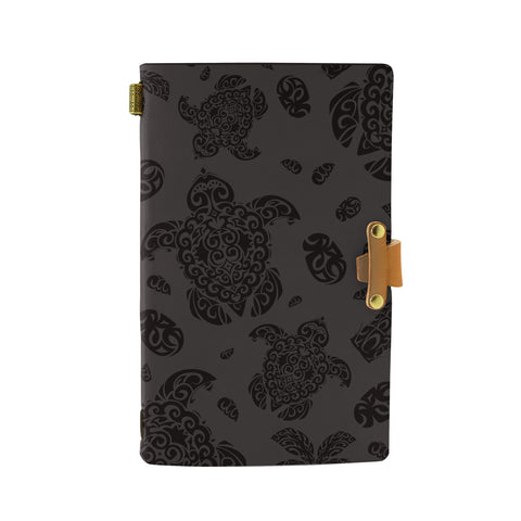 Hawaii Polynesian Turtle Palm And Sea Pebbles Gray Leather Notebook - AH - J6 - Alohawaii