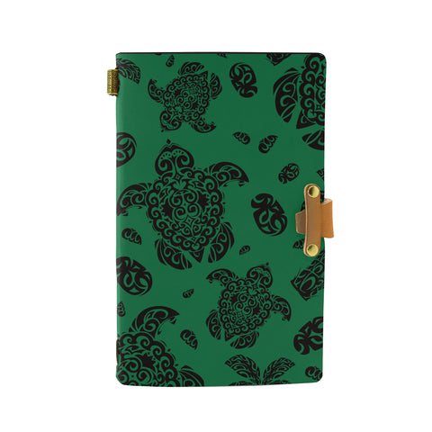 Hawaii Polynesian Turtle Palm And Sea Pebbles Green Leather Notebook - AH - J6 - Alohawaii