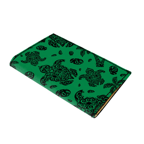 Hawaii Polynesian Turtle Palm And Sea Pebbles Green Leather Passport Holder - AH - J6 - Alohawaii