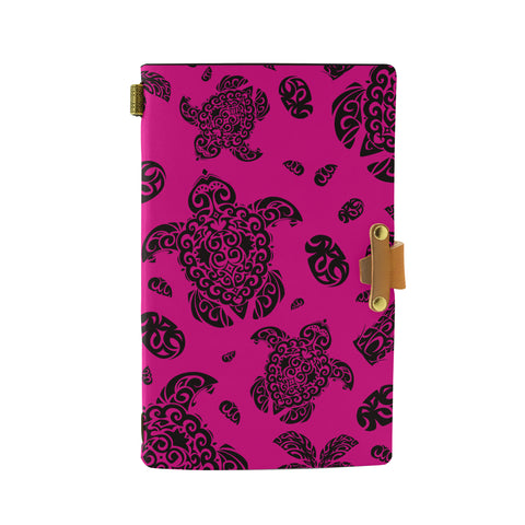 Hawaii Polynesian Turtle Palm And Sea Pebbles Pink Leather Notebook - AH - J6 - Alohawaii