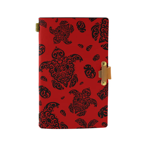 Hawaii Polynesian Turtle Palm And Sea Pebbles Red Leather Notebook - AH - J6 - Alohawaii