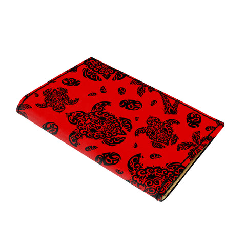 Hawaii Polynesian Turtle Palm And Sea Pebbles Red Leather Passport Holder - AH - J6 - Alohawaii